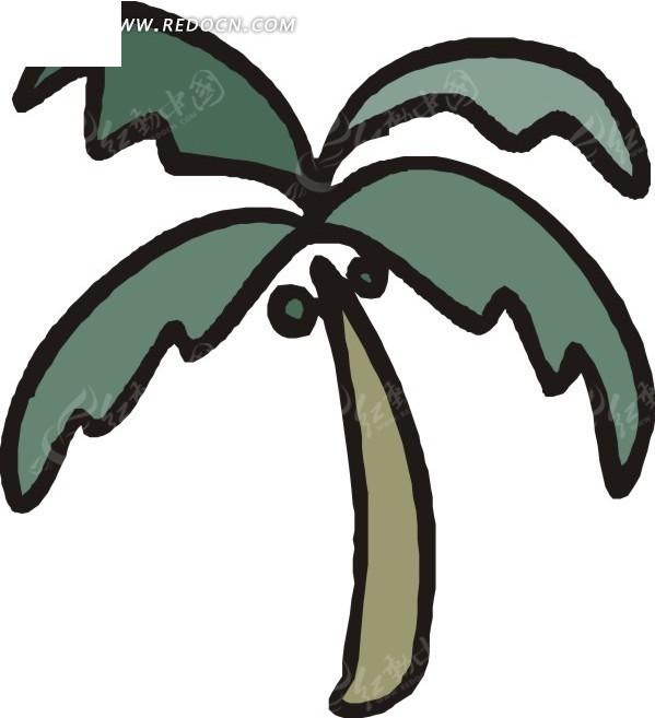 手绘墨绿色叶子的椰子树
