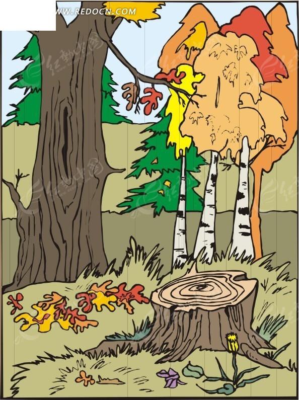 手绘树林里的树桩