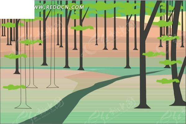 手绘树林里的小路