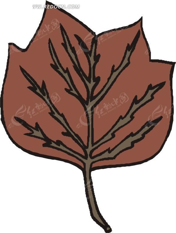 褐色叶子 卡通画 插画 手绘 矢量素材