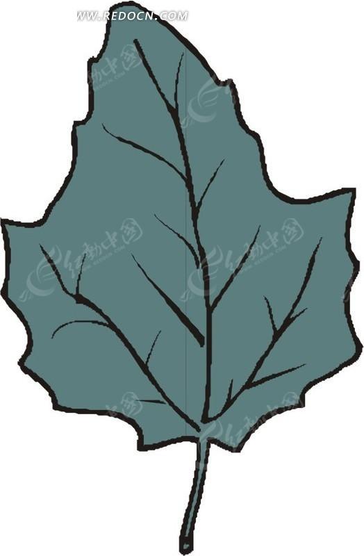 手绘墨绿色叶子