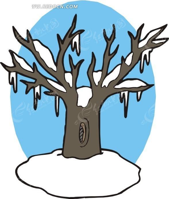雪 枯树 蓝色椭圆背景 卡通画 插画 手绘 矢量素材