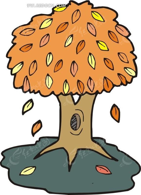 黄叶 枯叶 树木 植物 卡通画 插画 手绘 矢量素材