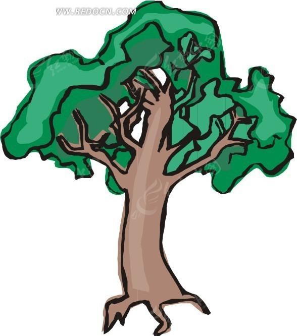 大树剪笔画-画矢量图 花草树木