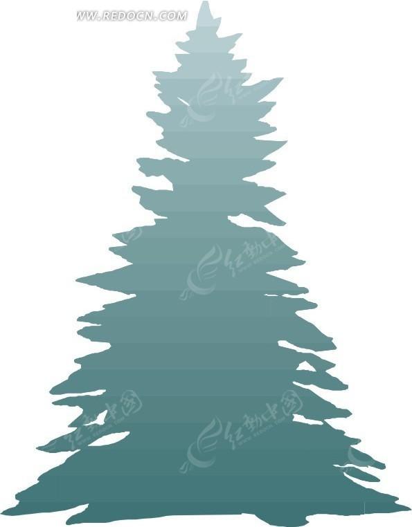 手绘蓝色松树图片