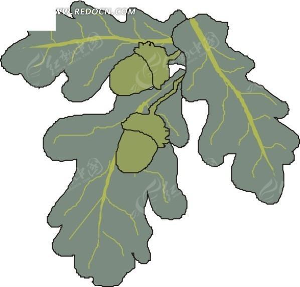 手绘墨绿色叶子和果子