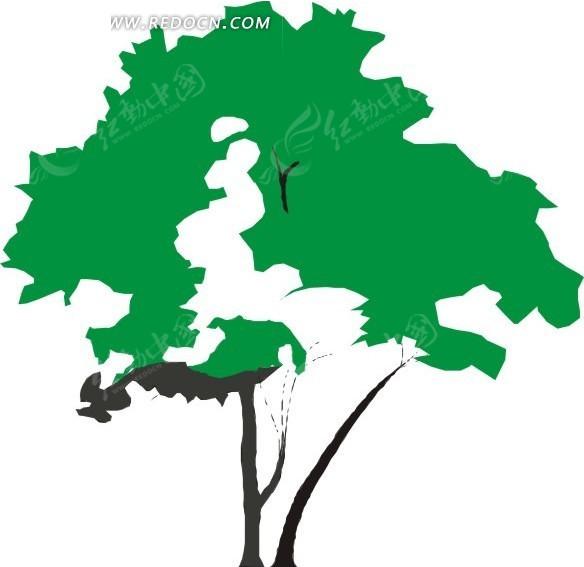 手绘大树的树梢
