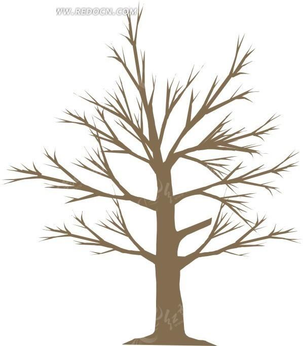 手绘棕色的枯树