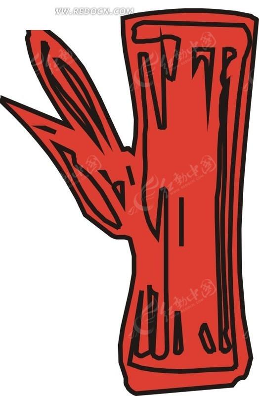 手绘红色树桩上的红色叶子