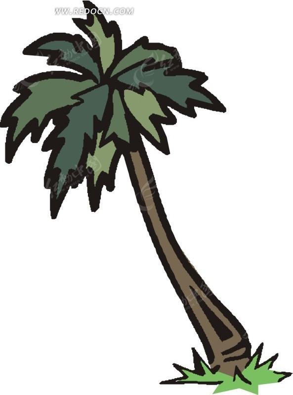 椰子树卡通画