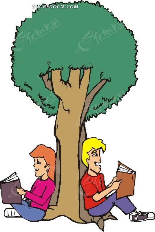 树下看书的卡通男女