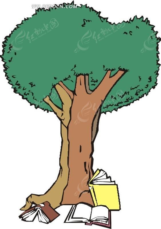 大树下的书本卡通画矢量图