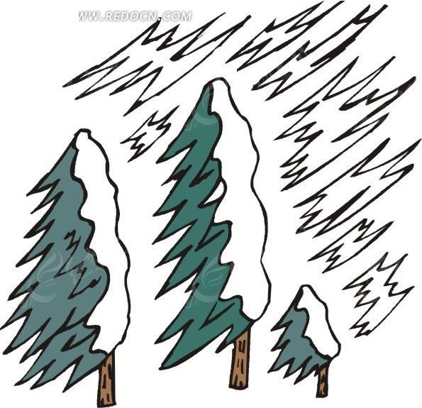 风中的松树 树木 插画 手绘 矢量素材