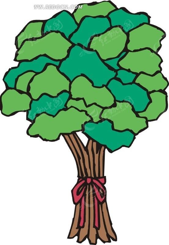 手绘系着红丝带的茂盛树木EPS素材免费下载 编号1547503 红动网图片