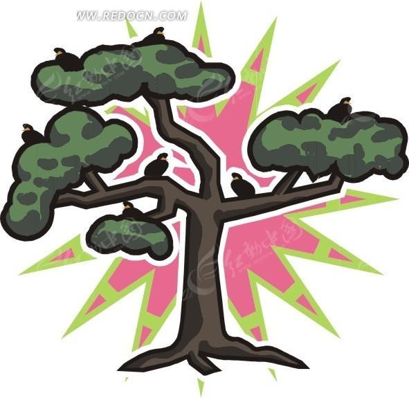 停满鸟的大树卡通画