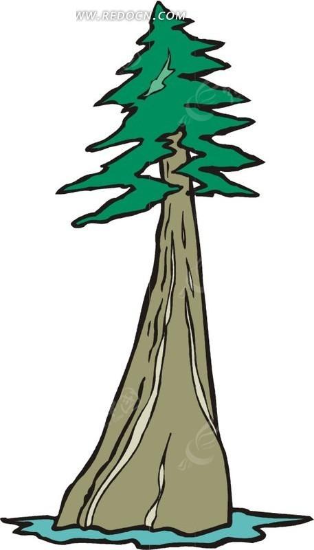 手绘树干粗壮的树木