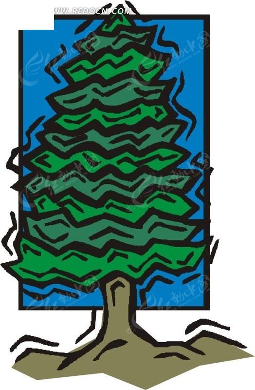 卡通手绘松树