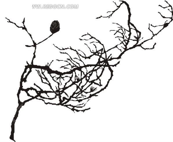 树枝图案矢量素材矢量图 花草树木 -树枝图案矢量素材