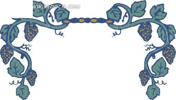 手绘对称的藤蔓上的叶子和果子