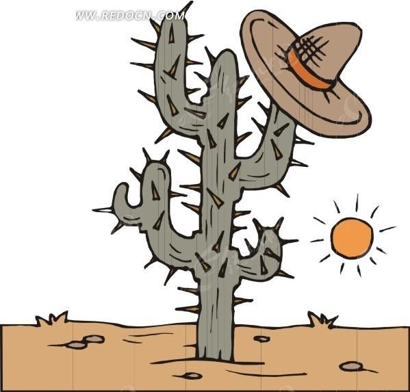 手绘戴帽子的仙人掌