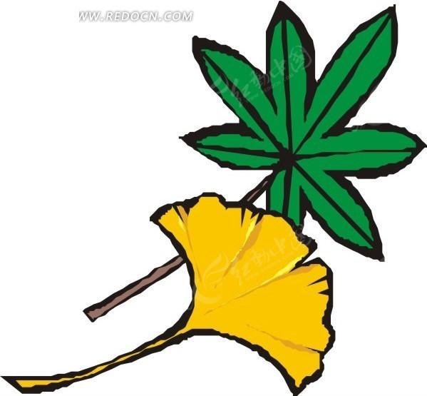 手绘黄色银杏叶和绿叶矢量图 花草树木 -手绘黄色银杏叶和绿叶
