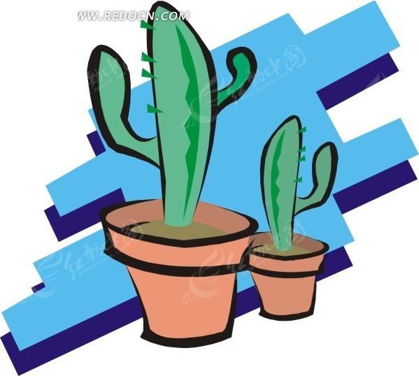 手绘仙人掌盆栽图片