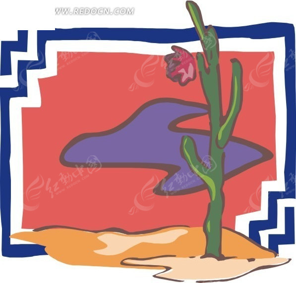 手绘沙滩上开花的仙人掌
