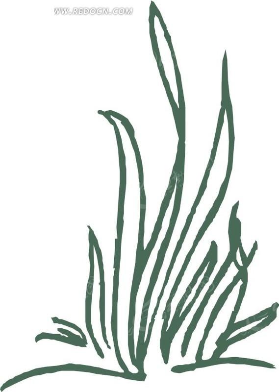 手绘墨绿色线条的植物矢量图eps免费下载