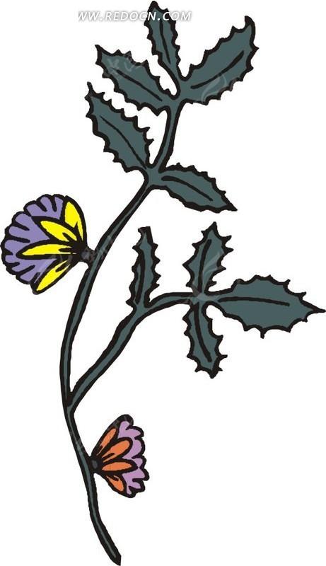 手绘墨绿色枝叶上的扇形花朵