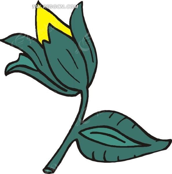 手绘墨绿色叶子和黄色花苞