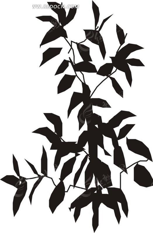 手绘黑色树叶和树枝