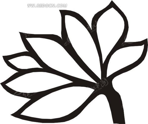 手绘梭形花瓣的花朵矢量图eps免费下载_花草树木素材