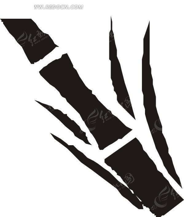 手绘黑色竹子和竹叶