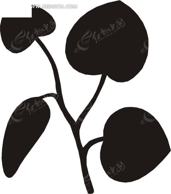 心形的叶子 黑色叶子 卡通画 插画 手绘 矢量素材