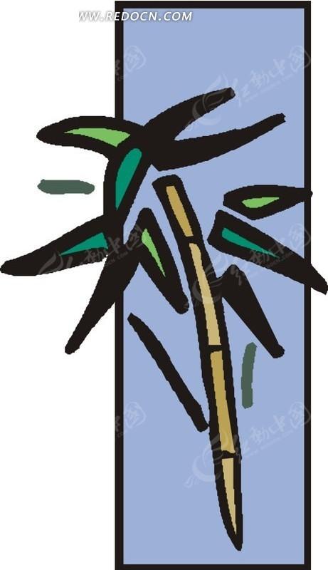 黄色竹子 绿色竹叶 蓝色背景 卡通画 插画 手绘 矢量素材