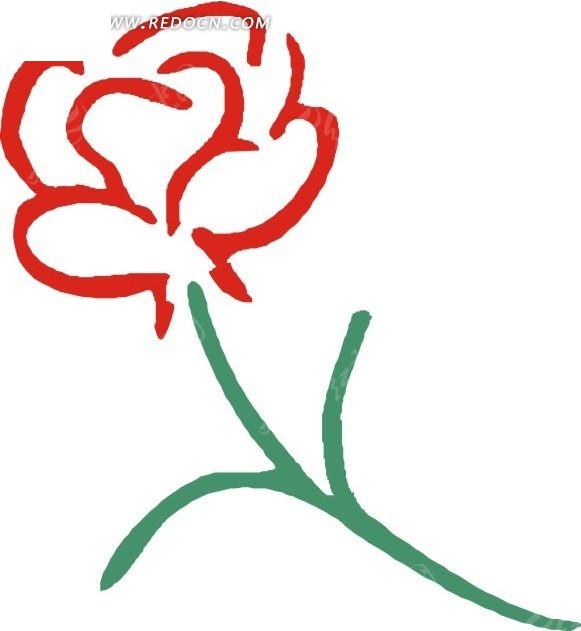 手绘简易红色花朵