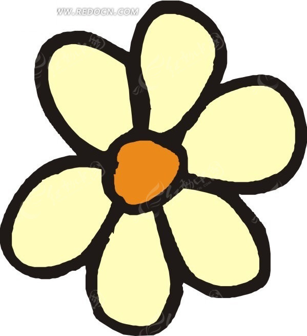 手绘一朵黄色的花朵矢量图eps免费下载_花草树木素材