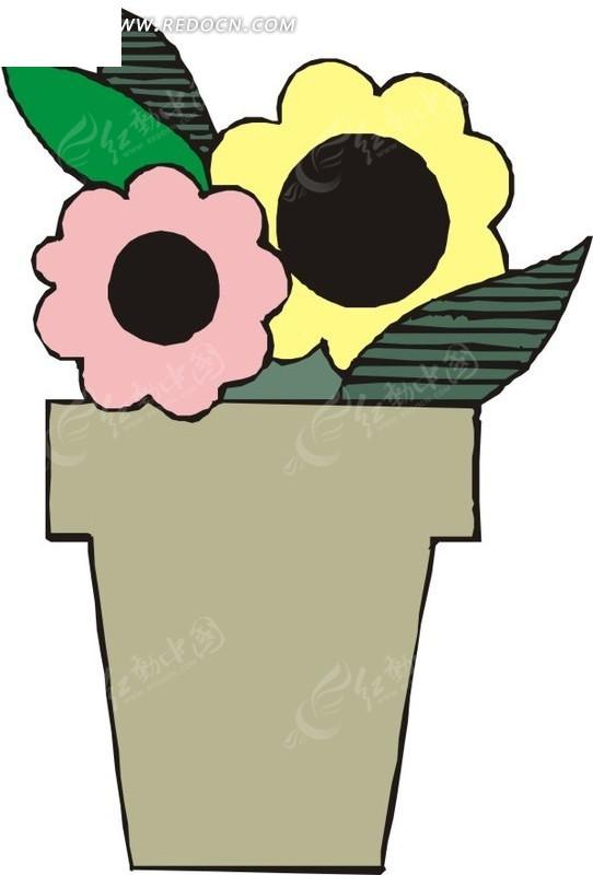 手绘花盆里盛开的花朵