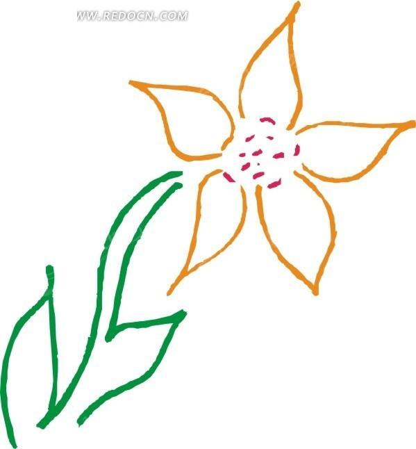 土黄色绿叶线条花朵矢量图矢量图_花草树木