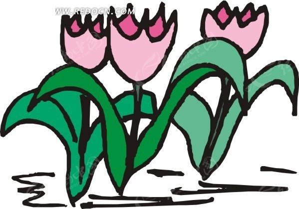 手绘绿叶和粉色郁金香矢量图eps免费下载_花草树木素材