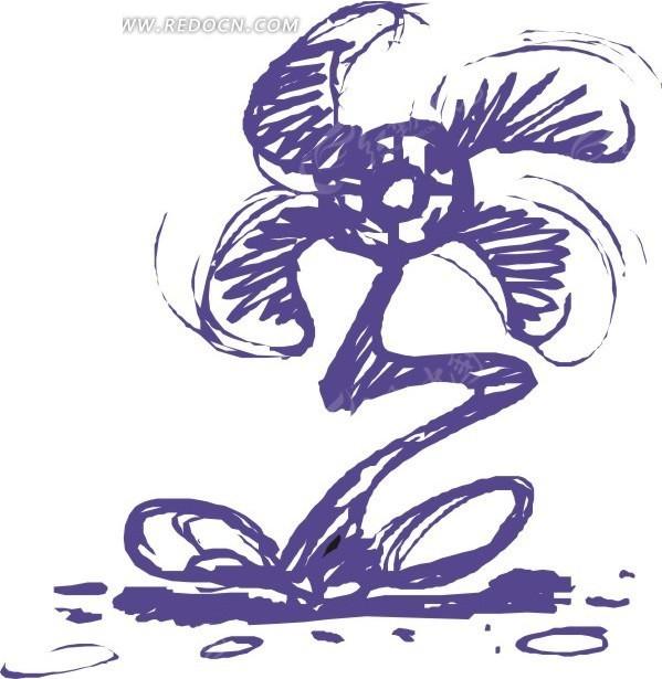 手绘蓝色风车状的花朵