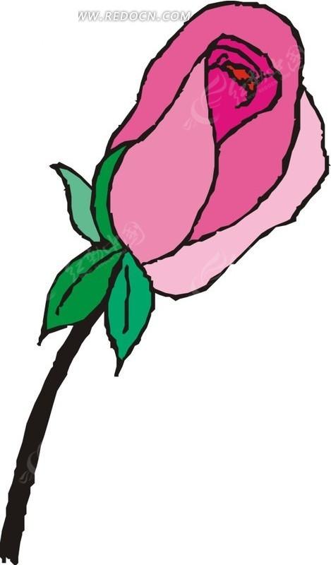 一枝粉色手绘玫瑰矢量图eps免费下载