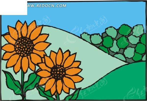 手绘田野上的向日葵矢量图_花草树木