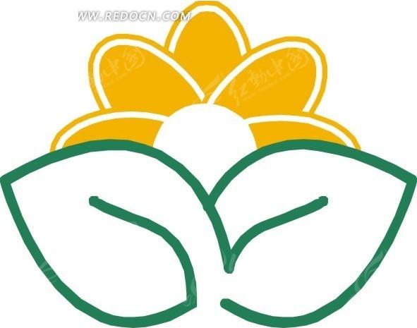 手绘简易绿叶和黄色花朵