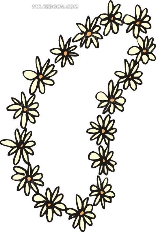 手绘黄色花环