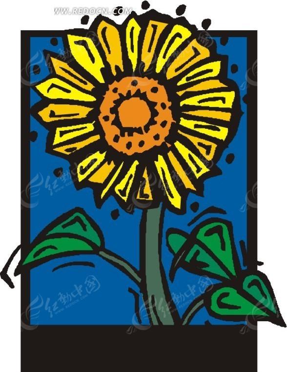 盛开的花朵 绿叶 叶子 黄色向日葵 卡通画 插画 手绘 矢量素材