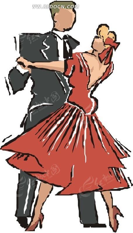 彩色手绘跳舞的男女矢量图