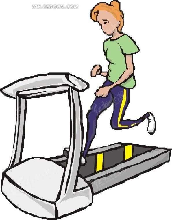 跑步机上的卡通美女矢量图_体育运动
