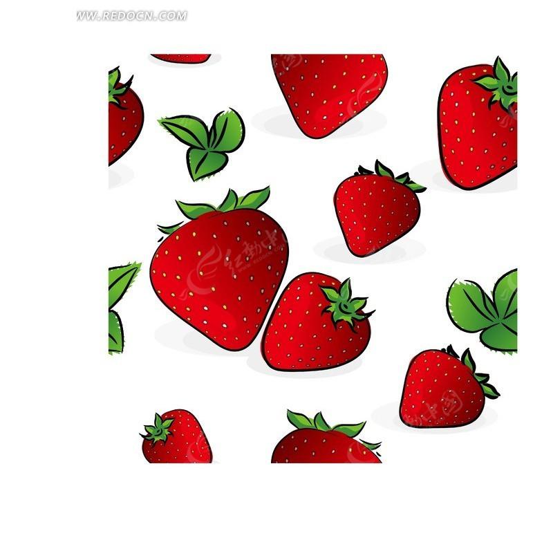 卡通草莓插画背景矢量素材eps免费下载_蔬菜水果