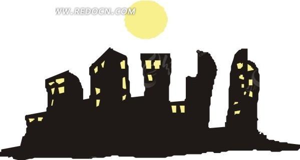 手绘月亮下的高楼大厦